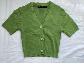 Green Hijau Lime Crop Top Cute Korean Fashion