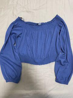 h&m blue off shoulder crop top