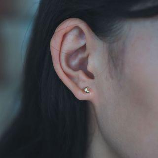 [k金耳飾]韓國潮流氣質女孩 月型耳釘 16k金