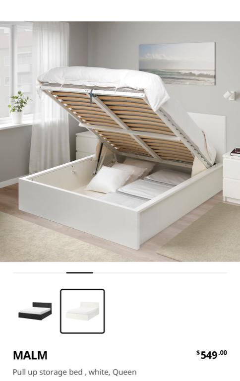 Malm pull up storage bed, ikea, white