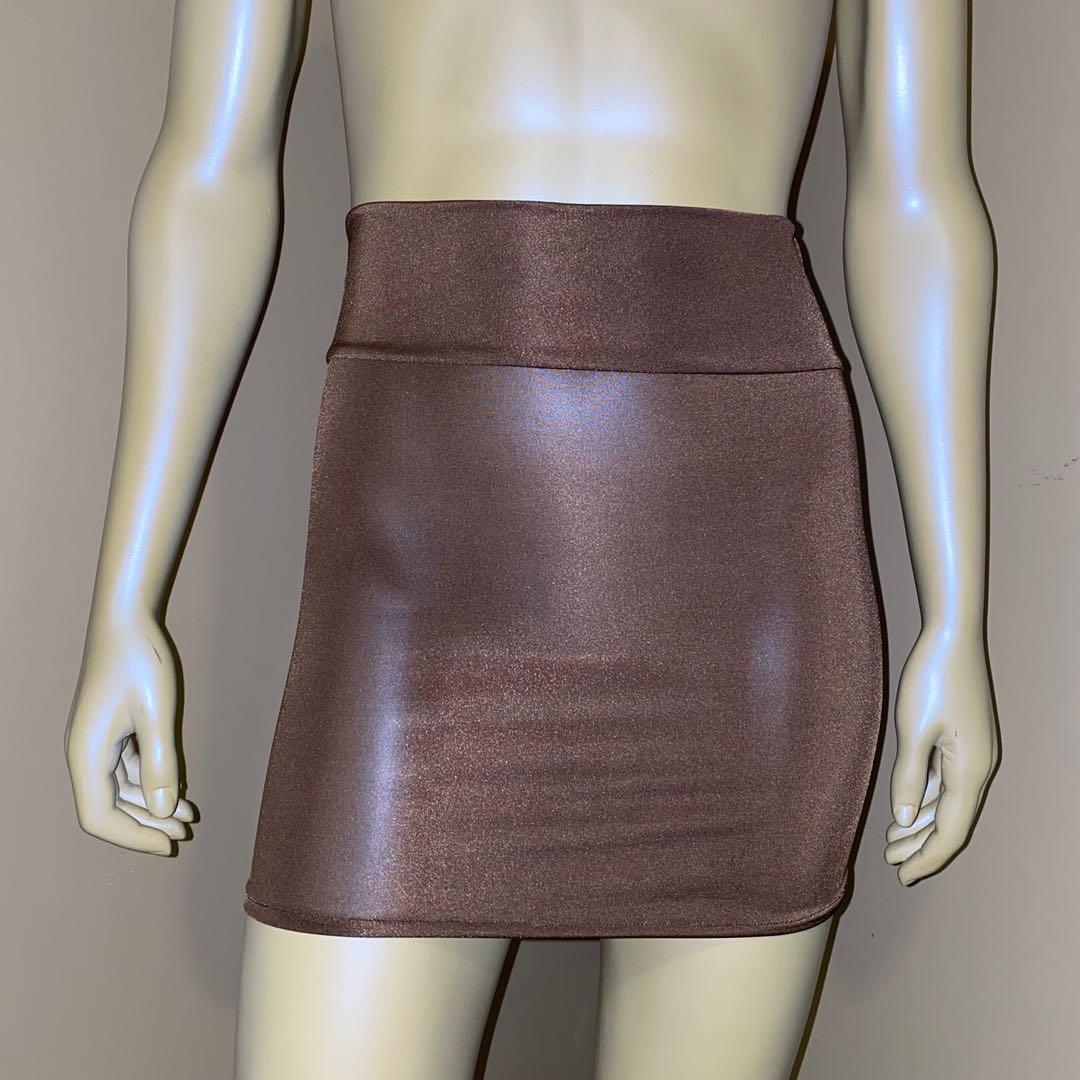 Taupe bodycon high waisted mini skirt