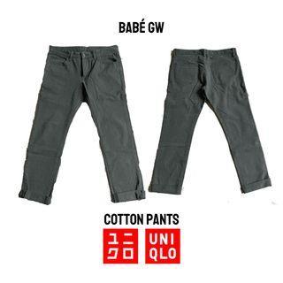 UNIQLO Celana Cotton Pants Abu Tua