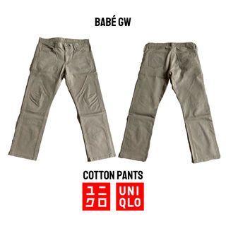 UNIQLO Celana Cotton Pants Coklat Muda