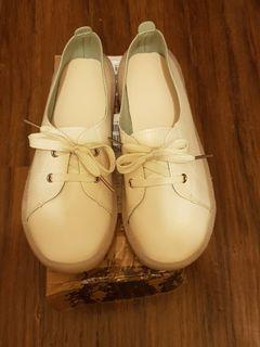 牛筋軟皮軟底平底小白鞋-39