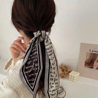 【全新】韓國款 法式復古幾何綁帶絲巾/包巾/頭巾/髮帶/領巾