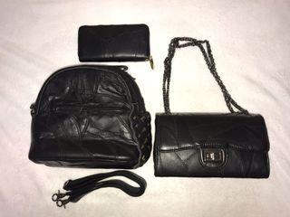 真皮包 羊皮 裁縫 卯釘 後背包 三用包 斜背包 長夾 鏈條包