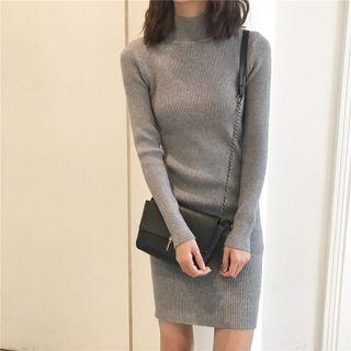 現貨黑♡A926質感超好高領合身螺紋針織連身裙洋裝