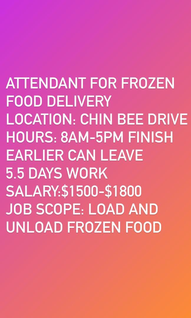 Job: Attendant for frozen food delivery