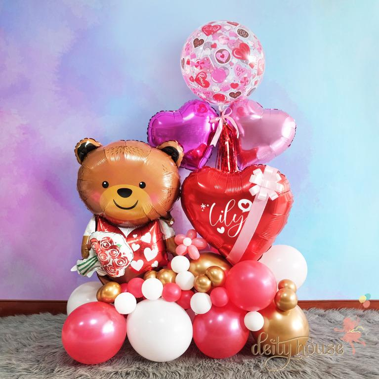 Bear with Rose Balloon Bouquet