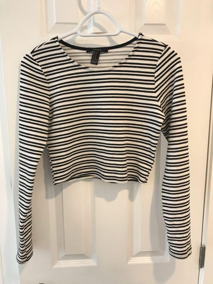 Cropped Long Sleeve Striped
