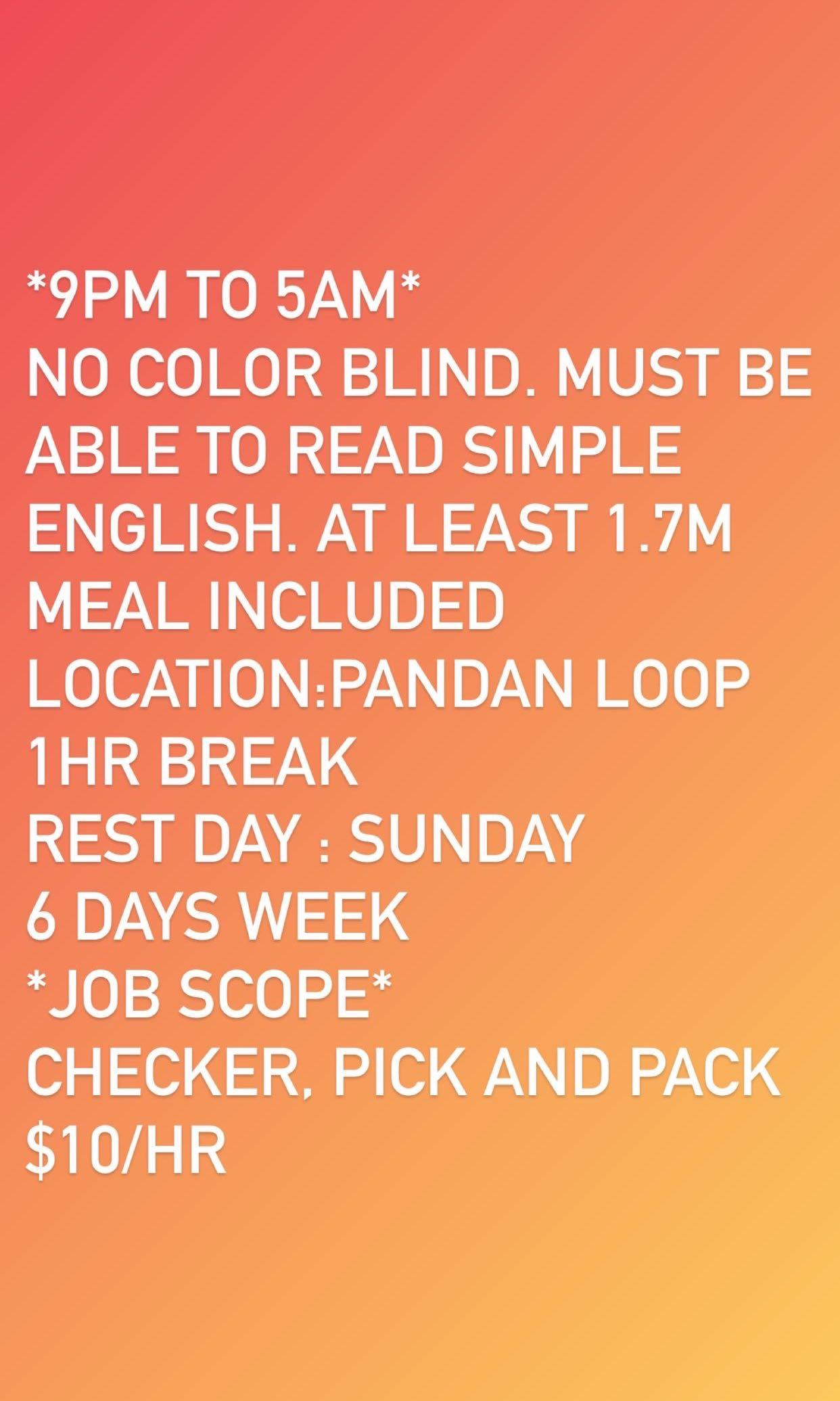 Job: checker pick and pack