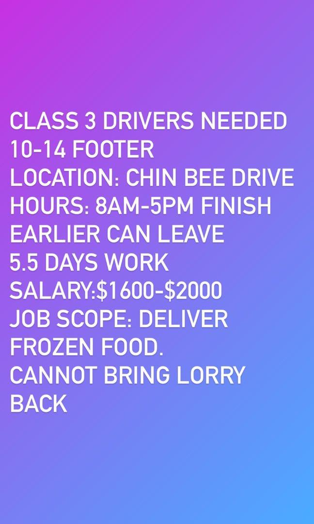 Job: Class 3 delivery driver needed