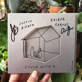 Justin Bieber & Ariana Grande Stuck With U Signed CD (Import 100% Original)