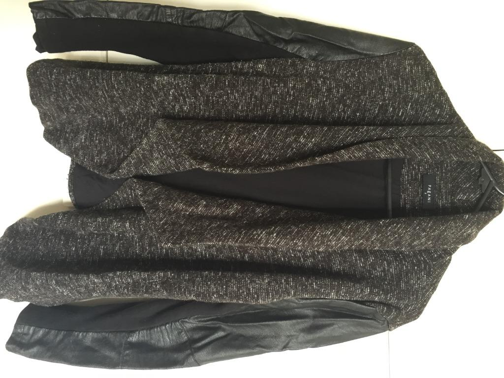 PAGANI wool blazer with leather sleeves