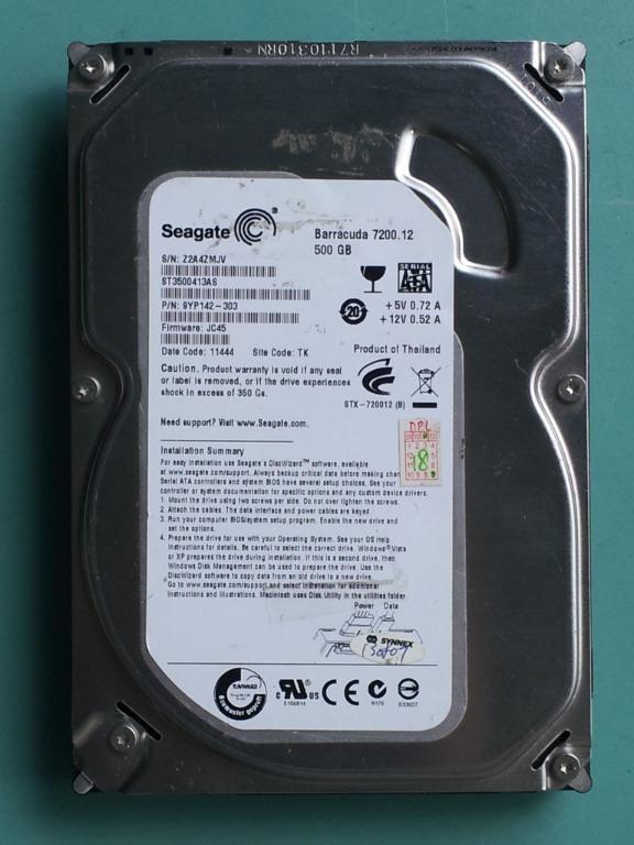 Seagate希捷 3.5吋 500GB(500G) SATA硬碟 ST3500413AS 極少用良品 A414