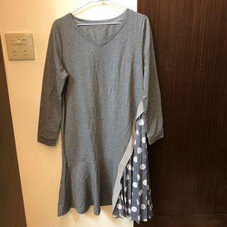 小V領層次點點棉質洋裝