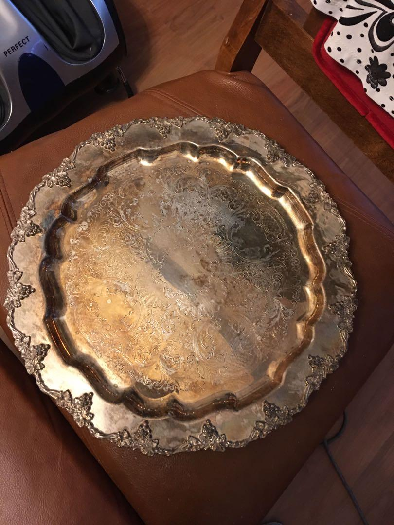 Vintage silver plated tray, obo