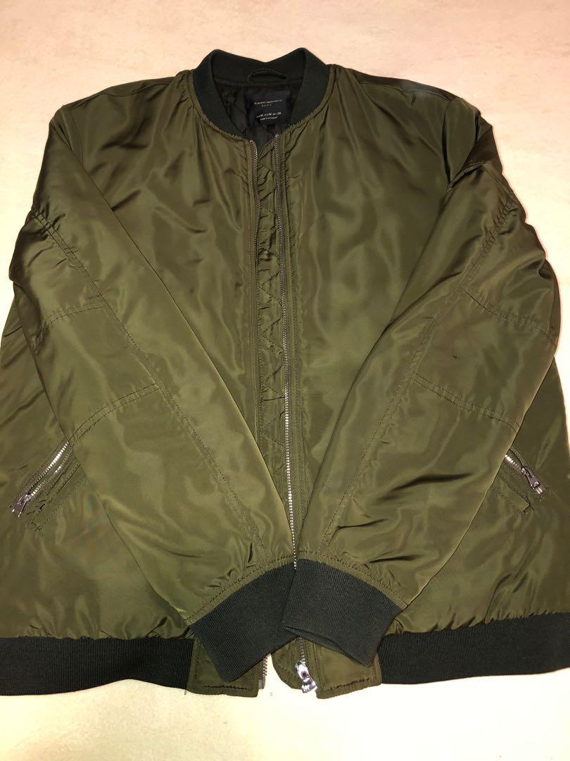 Zara Men Deep Green Bomber Jacket
