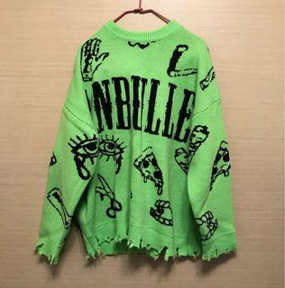 降-限時全部100元-螢光綠寬鬆潮人針織毛衣