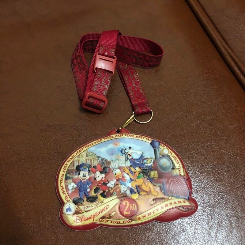 免運 絕版 值得收藏 香港迪士尼 2007年 證件套  2ND 2週年紀念 票卡夾 悠遊卡套 識別套 米老鼠 唐老鴨 紅色