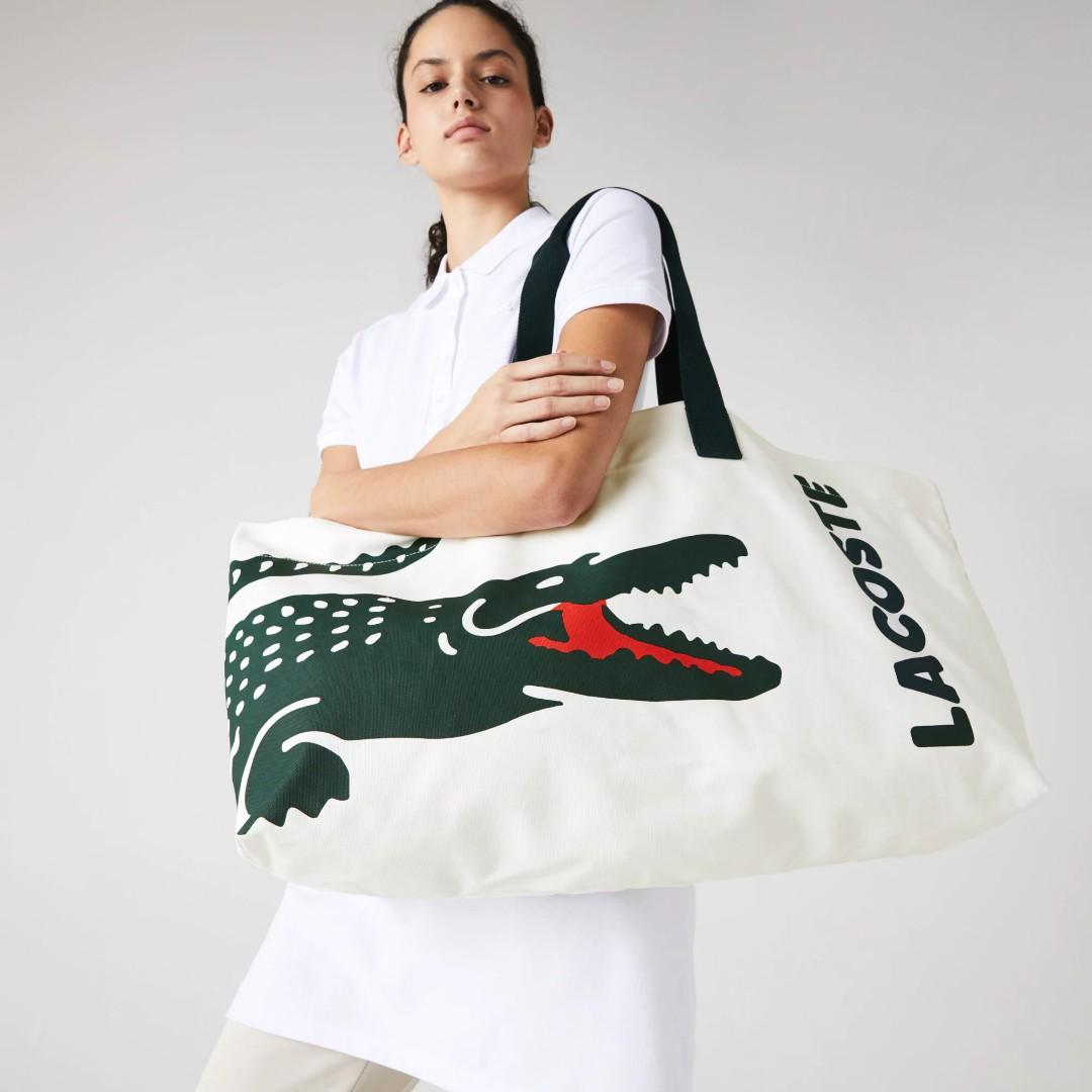美國代購 lacoste 國外限時特價款 Oversized  Cotton Large Tote 環保手提袋 大容量 純棉 耐用 購物 旅行 必備