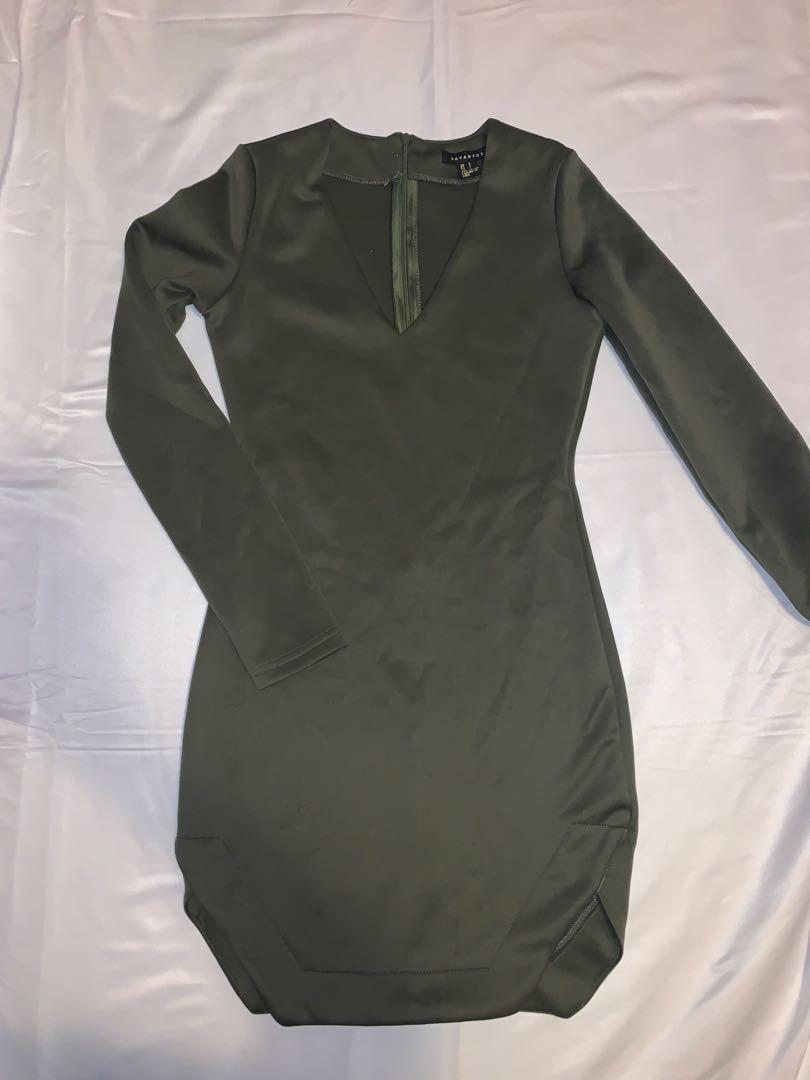 Army Green Long Sleeve Bodycon Dress