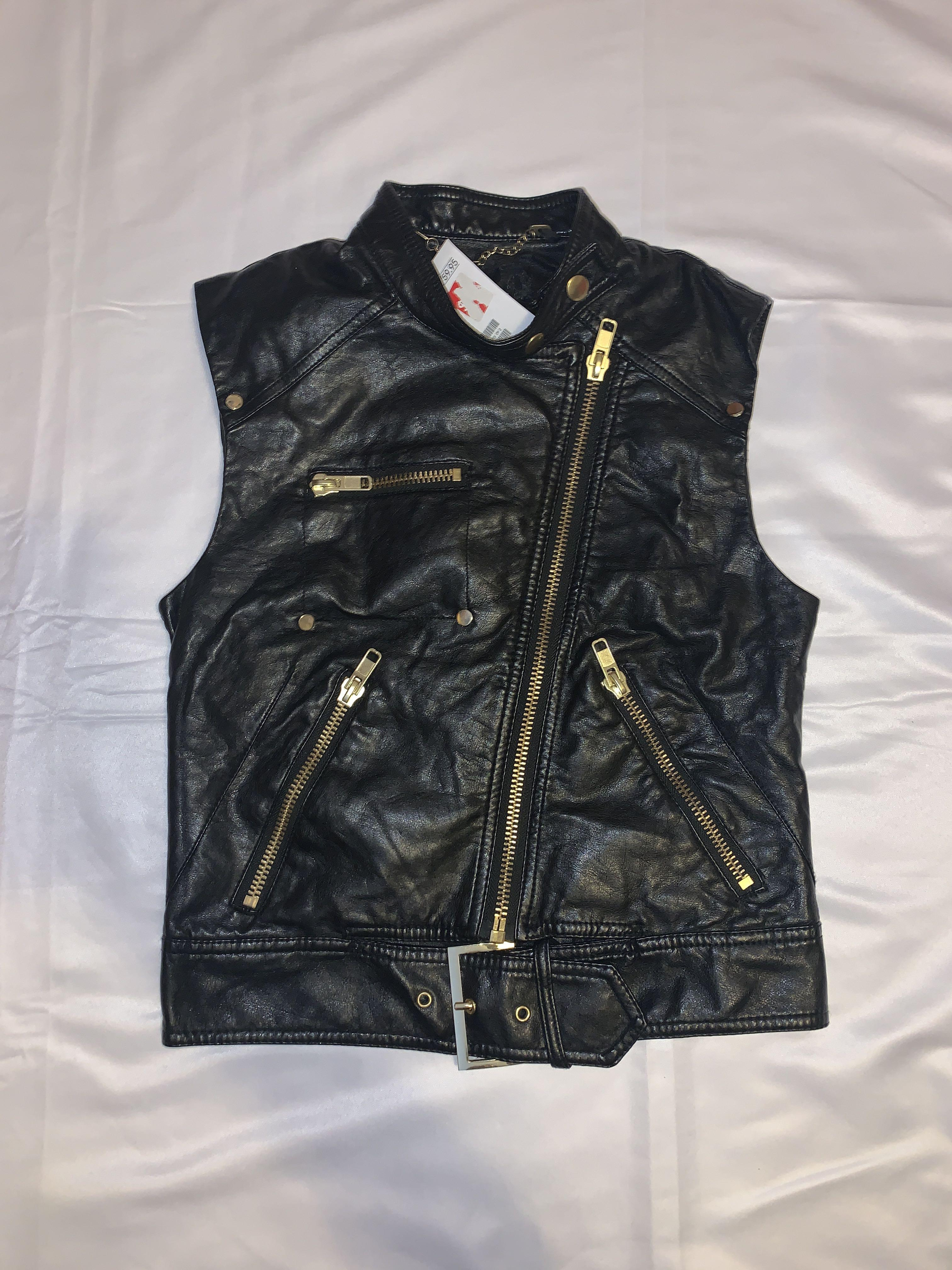Black Faux Leather Vest