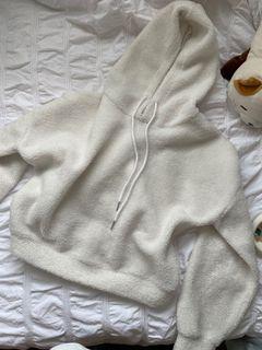 Fluffy white hoodie