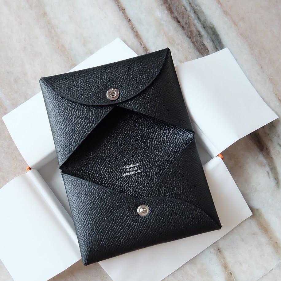 Hermes Calvi Card Holder Black