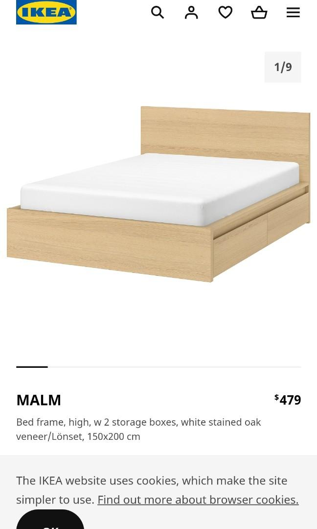 Ikea Malm Bed Frame Queen Furniture Beds Mattresses On Carousell