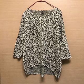 寬鬆豹紋針織毛衣-L