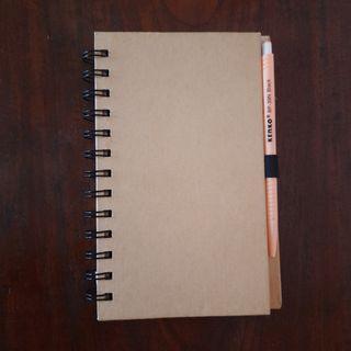 Notebook dengan Sticky Notes dan Pulpen, Jual buku bekas, notes bergaris, kertas bergaris, notes ring