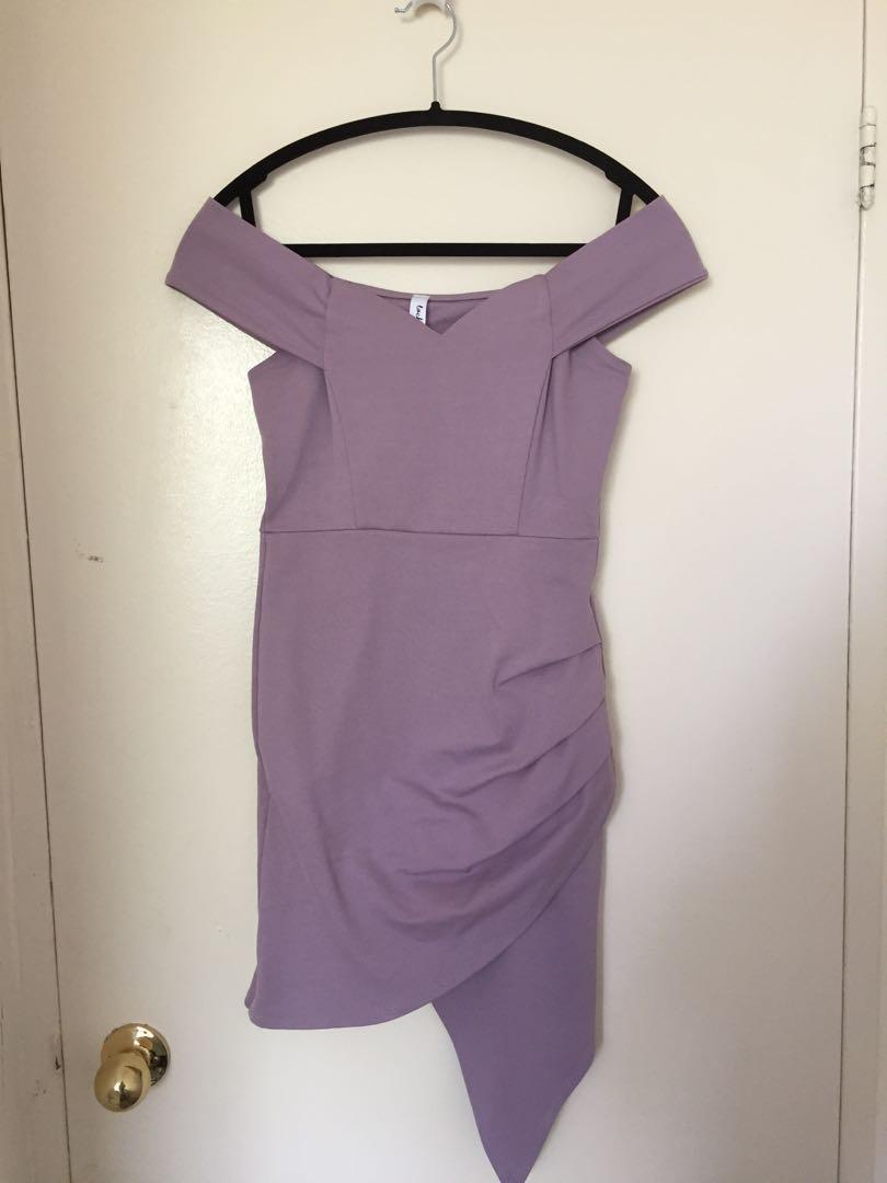 M for Mendocino women's purple off the shoulder bodycon dress