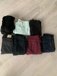 Size 24/0/XS - 9 PANTS FOR $50 Aritzia Capris, 4 Jeans (Zara, 2 Second Yoga, American Apparel) & 4 Leggings
