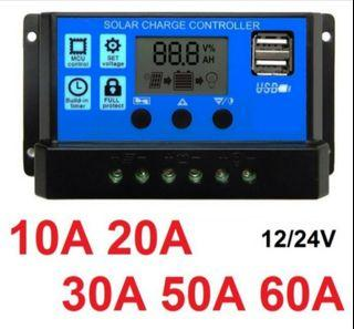 Solar charge controller 10A 20A 30A cell PWM pengisi daya surya 12V24V - sepuluh A