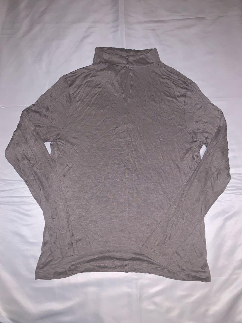 Taupe High Neck Long Sleeve