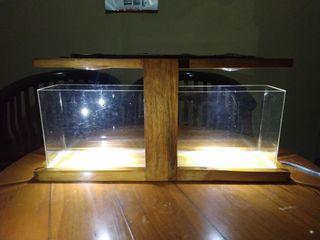 Tempat Aquarium Kayu 2 Sekat