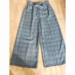(已預訂)經典灰色格紋寬褲