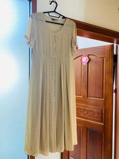 古著格紋洋裝 透膚款式