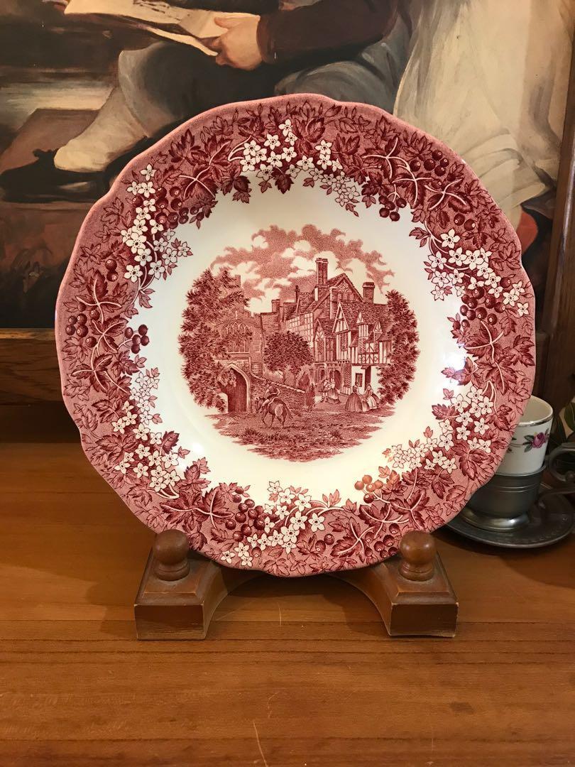 歐洲古物__英格蘭盤 凹底 花卉 城鎮 粉色 老瓷盤 擺設