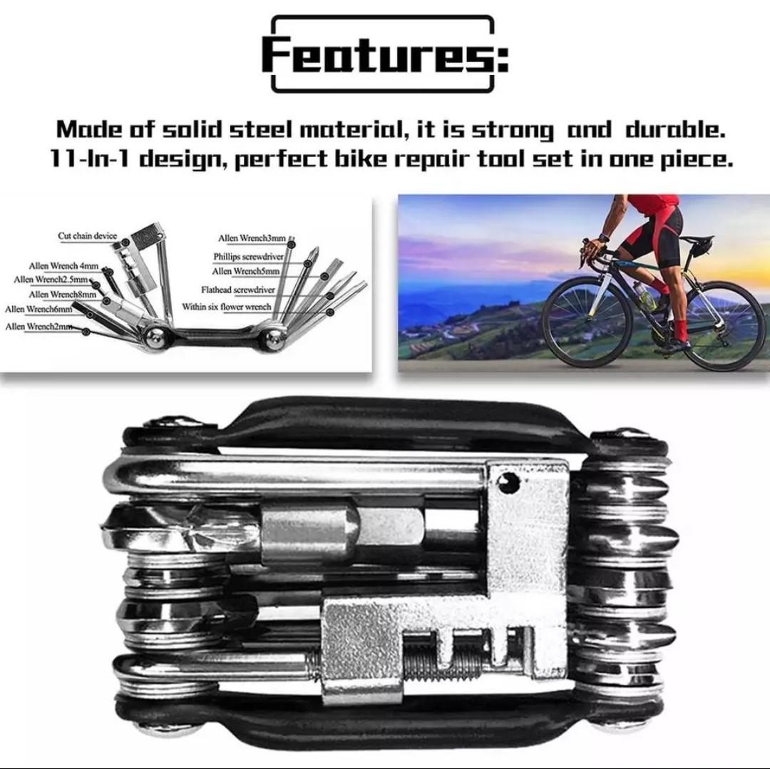 Black Bicycle Cycling 11 in 1 Multi-function Repair Tools Chain Rivet Extractor