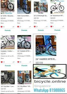 Brand new bicycles from $159! * WhatsApp 81988865 * City, Kids(from $129), Mountain and Road Bikes.