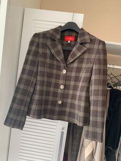 Cottilia蔻莉蒂雅咖啡棕格紋質感西裝外套