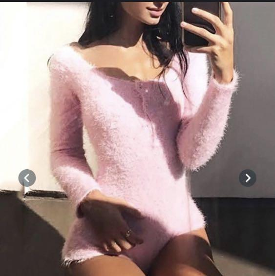 Fluffy pink long sleeve bodysuit super cute
