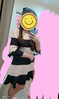 H2o 洋裝 氣質 日系 專櫃 粉色藍色條紋