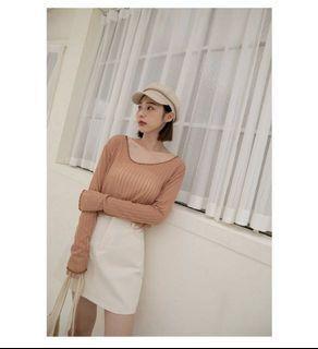 Harper 薄針織上衣-顯白粉橘色