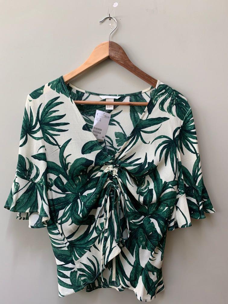 H&M Brand New Palm Leaf Top