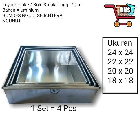 Loyang Bolu Kotak Tinggi 7 cm (1 Set 4 Pcs)
