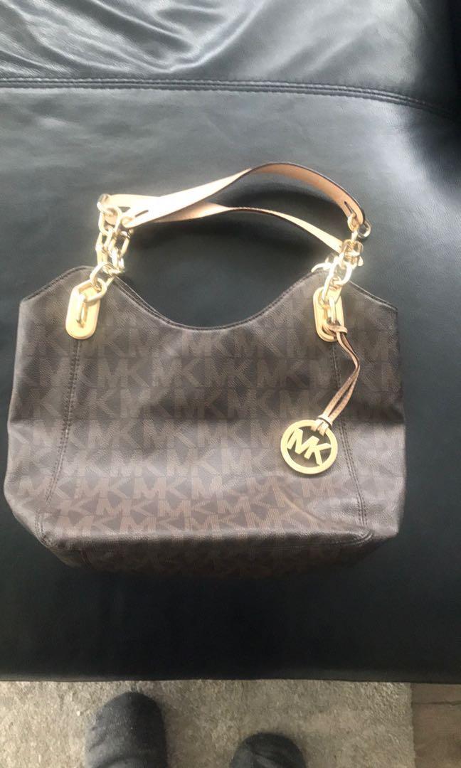 Handbag - Michael Kors brown and gold logo bag