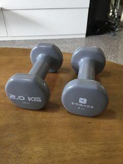 Pair of 2 kg dumbbells